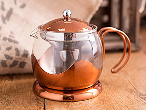 Creative Tops 1200 ml Copper and Glass La Cafetiere Origins Le Teapot with Infuser Basket
