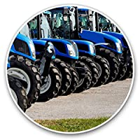 Awesome Vinyl Stickers (Set of 2) 7.5cm - Blue Tractors Farmer Farming Vehicle Fun Decals for Laptops,Tablets,Luggage,Scrap Booking,Fridges,Cool Gift #24622