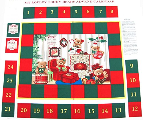 My lovely Teddy Bears Weihnachten Advent Kalender Stoffbahn-Pro Panel -