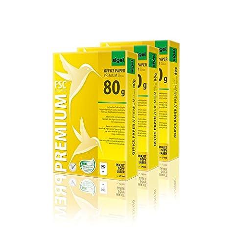 Sigel LP503 Premium Kopierpapier / Druckerpapier A4, 80 g, 3 x 500 Blatt, weiß