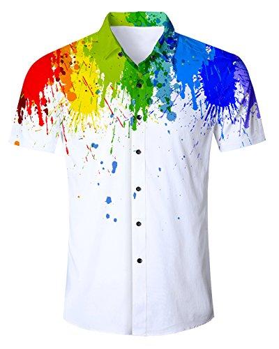 Idgreatim Männer Männer 3D Digital Printed Math Formel Button Down Hemden Shirt Lässige Grafik Hemden Shirt - Grafik Shirt