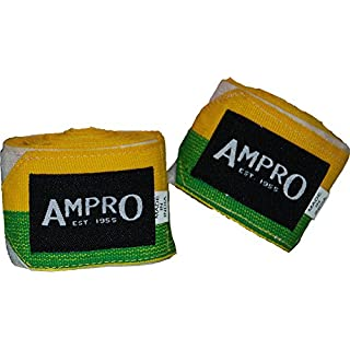 Ampro 4.5m Stretch Boxing Hand Wraps - Boxing / MMA / Martial Arts / Fitness / 450cm / Various Colours (Yellow/Green)
