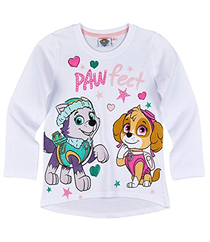 Paw patrol ragazze maglietta maniche lunghe - bianco - 110