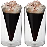 2x 200ml doppelwandige Thermogläser im Spitzglasdesign mit Schwebe-Effekt, ideal für Tee, Kaffee, Cappuchino, Saft, Eis, Spikey von Feelino