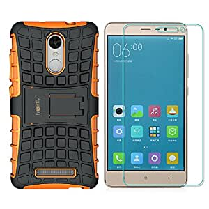 Heartly Flip Kick Stand Spider Hard Dual Rugged Armor Bumper Back Case With Protective 2.5D 0.3mm Pro Tempered Glass For Xiaomi Redmi Note 3 - Mobile Orange