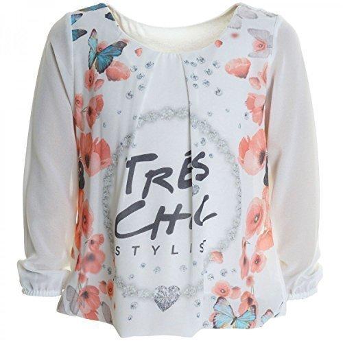 Mädchen Bluse Shirt Pullover Blusen Kleid Longsleeve Sweatshirt T-Shirt 20263, Farbe:Weiß;Größe:116