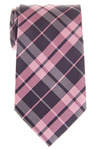 Retreez Herren-Krawatte, kariert, gewebt, Mikrofaser, 80 mm, verschiedene Farben Gr. onesize, Pink und Grau