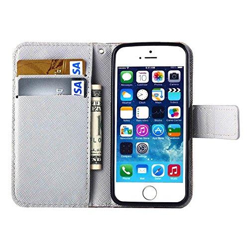 MOONCASE pour Apple iPhone 5 / 5S Case Cuir Housse de Protection Coque en Portefeuille Étui à rabat Case DKS10 DKS06 #1221