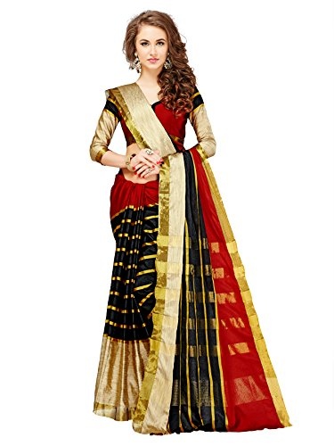 Glory Sarees Cotton Silk Saree (Jari117_Red)