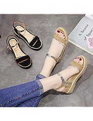 XY&GK La mujer sandalias en verano con la pendiente con plataforma impermeable inferior grueso sandalias Calzado Antideslizante hembra marrón 37