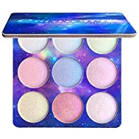 YUnnuopromi 9 Colors Glitter Eyeshadow Powder Palette Highlighter Face Concealer Makeup Tool Colorful