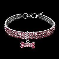 oobest Collares para Mascotas con 3 Filas de Diamantes de imitación elásticos, Collares para Mascotas, Perros, Gatos, Collares de Cristal con Colgante de Hueso