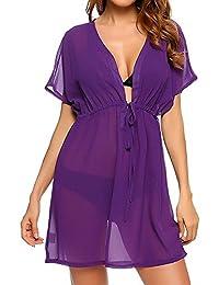 Camisa de Gasa para Mujer - Blusa con Perspectiva en Color Puro Atractiva Pijama de Baño