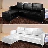 Divano angolare moderno ecopelle con pouf sofa soggiorno bianco nero 3 posti