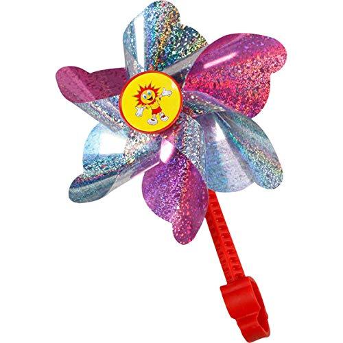 Fahrradwindmühle für Kinder - passend auch für Roller, Dreirad, Laufrad - Fahrrad Windrad Windmühle Deko Zubehör rosa -