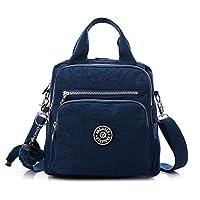Fancybox Multifunction Water Resistant Nylon Top Handle Handbag Crossbody Satchel Purse Backpack (Navy blue)