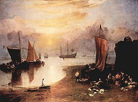 Die Museum Outlet–Rising Sun in the Haze, während GUTTING und Verkauf Fisch von Joseph Mallord Turner, gespannte Leinwand Galerie verpackt. 29,7x 41,9cm