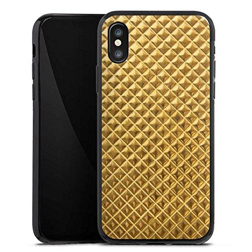 Apple iPhone X Silikon Hülle Case Schutzhülle Nieten Gold Muster Silikon Case schwarz