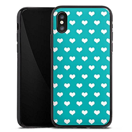 Apple iPhone X Silikon Hülle Case Schutzhülle Herzchen Türkis Muster Silikon Case schwarz