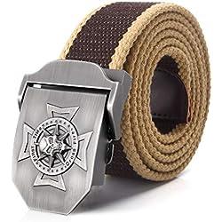 HJFDEW Cinturón de calavera, de lona para hombre, 150 cm