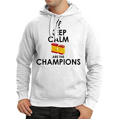 Felpa con cappuccio gli spagnoli sono i campioni, il campionato di russia il 2018, la coppa mondiale - la squadra di calcio di camicia di ammiratore della spagna (xxx-large bianco multicolore)