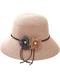 Leisial Women Lady Sun Hat Elegant Flower Design Straw Basin Cap Fisherman  Hat Summer Beach Cap abc90794b2b1