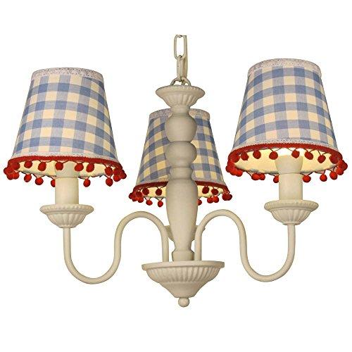 Lüster Kinder-Kronleuchter  Kinderzimmerlampe  3 Lampenschirme Vichy Karo