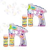 Relaxdays 2 x Seifenblasenpistole LED, batteriebetrieben, mit 4X Seifenblasen Flüssigkeit, Kinder & Erwachsene, transparent