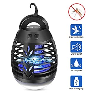 YUNLIGHTS Bug Zapper Camping Lantern Tent Light Portable IP66 Waterproof Electronic Mosquito Zapper Lamp flying insect Killer Repellent USB Charging with 2500mAh Rechargeable Battery