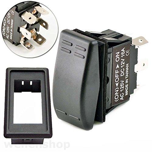 wellenshop 2 x 12V Drucktaster Kippschalter Kombination 16A mit Einbaurahmen -