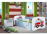 Kocot Kids Kinderbett Jugendbett 70x140 80x160 80x180 Blau mit Rausfallschutz Matratze Schublade und Lattenrost Kinderbetten für Junge - Feuerwehr 180 cm
