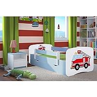 Preisvergleich für Kocot Kids Kinderbett Jugendbett 70x140 80x160 80x180 Blau mit Rausfallschutz Matratze Schubalde und Lattenrost Kinderbetten für Junge - Feuerwehr 180 cm