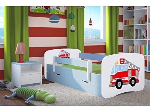 *Kocot Kids Kinderbett Jugendbett 70×140 80×160 80×180 Blau mit Rausfallschutz Matratze Schubalde und Lattenrost Kinderbetten für Junge – Feuerwehr 160 cm*