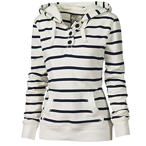 Femmes Sweats à capuche V-Neck Slim veste de sport rayé à capuche Hauts Hooded Sweatshirt (S, Blanc)