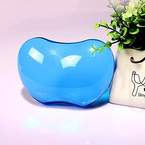 5-LLL-Grande cristallo trasparente in silicone del mouse pad da polso di affaticamento freddo mani nel suo braccialetto di cuscino di mano , transparent blue