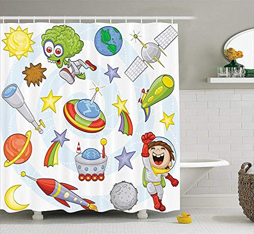prz0vprz0v Outer Space Decor Shower Curtain, Space Objects with Sun Earth Comet Stars Meteor Lunar Extraterrestrial Cartoon, Fabric Bathroom Decor Set with Hooks, 72W x 79L inch Bath Curtains, Mult