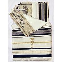 Messianic tallits Oración Chal Pacto Messianic Tallit Chal de oración Tallit 72x 22Pulgadas. Negro Messianic tallits Cristiana con Texto Hebreo judío de Israel