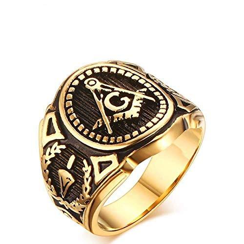 Huaxinyitech Römische Gotik Antike Retro Gold Herren Unisex Ringe (Color : Gold, Größe : Us#11)