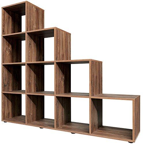 Stufenregal P82 Typ 20 stirling eiche Bücherregal Treppenregal Regal Sideboard Raumteiler Aktenregal Ordnerregal