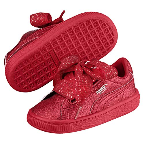 Puma Basket Heart Holiday Glamour Baby Mädchen Sneaker Ribbon Red-Rose Gold 6_Infant (Gold Ribbon Baby)