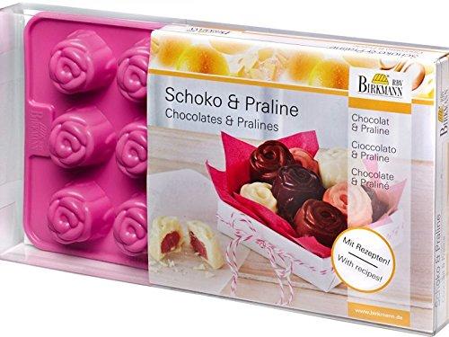 Birkmann 251588 Pralinen- & Schokoladenförmchen, Silikon, Rose
