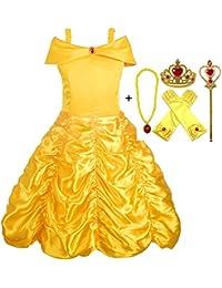 Alead Disfraz de Princesa Belle Vestido y Accesorios, Guantes, Tiara, Varita y Collar