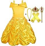 Alead Prinzessin Kostüm Belle Kleid und Zubehör, Handschuhe, Diadem, Zauberstab und Halskette (7-8 Jahren)