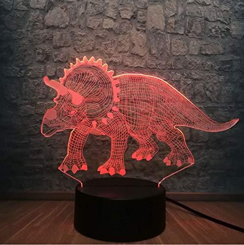3D Dinosaurier-Nachtlicht, 7 LED-Farben, die Beleuchtung ändern, ABS-Unterseite, USB-Gebühr für Hauptdekor, Spielzeug-Geschenk-Ideen-Weihnachtsgeschenk