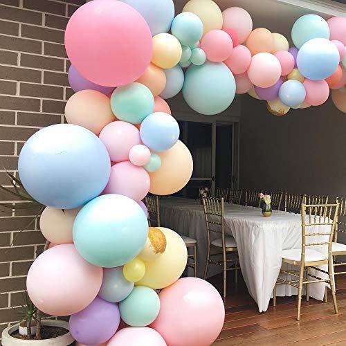 Pastell Macaron Ballon Bogen Set Hochzeit Braut Dusche Partei Hintergrund Decoation Streifen Band Wand Luftballons