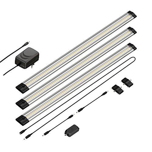 parlat LED Unterbau-Leuchte Siris, Touch-Dimmer, flach, je 50cm, 500lm, warm-weiß, 3er Set