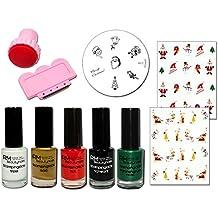 Stamping Set con 5stencil vernici M12Konad Nail Art e 2adesivi natalizi x-Mas