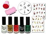 Weihnachts Stamping Set 1 mit 5 Stamping Lacken M12 Konad Schablone und 2 Sticker X-Mas