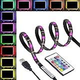 SENDIS - Tira Led para TV, Tira Led USB, Led para TV 2 Metros 5050 RGB Impermeable con Cable de USB para Monitor TV, el de PC, la Pantalla de LCD, el Ordenador Portátil, la PC de Escritorio, Externo