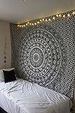 90 x 90 Zoll Elefant Mandala Indische traditionelle Hippie Baumwollteppich, Schwarz und Weiß, Königin